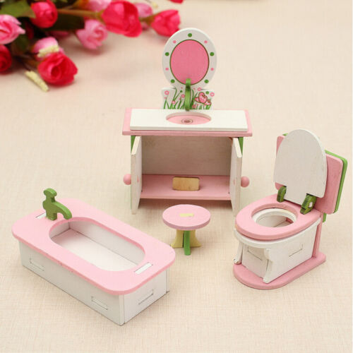 Children Wooden Doll House Furniture Sets Bathroom Bedroom Living Room Gift Toy