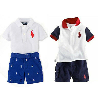 2pcs Kids Boys Polo T-Shirt Lapel Short-Sleeved+Shorts Pants Outfits 1-7Years