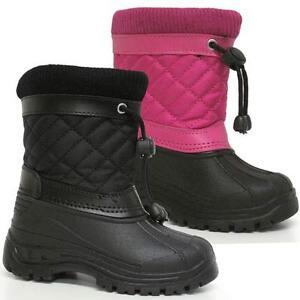BOYS-SNOW-BOOTS-GIRLS-INFANTS-WINTER-WATERPROOF-FUR-WELLINGTONS-MUCKER-SHOE-SIZE