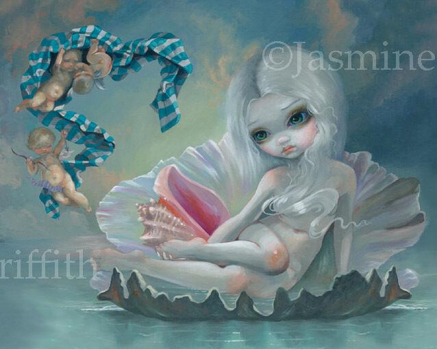 Jasmine Becket-Griffith art print angel shell goddess SIGNED Venus with Cherubs