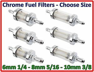 CHROME-INLINE-FUEL-FILTER-CHOOSE-SIZE-6MM-8MM-10MM-UNIVERSAL