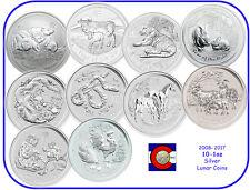 2008-2017 Australia Silver 1oz Lunar Coin Set, Australian Mouse-Rooster