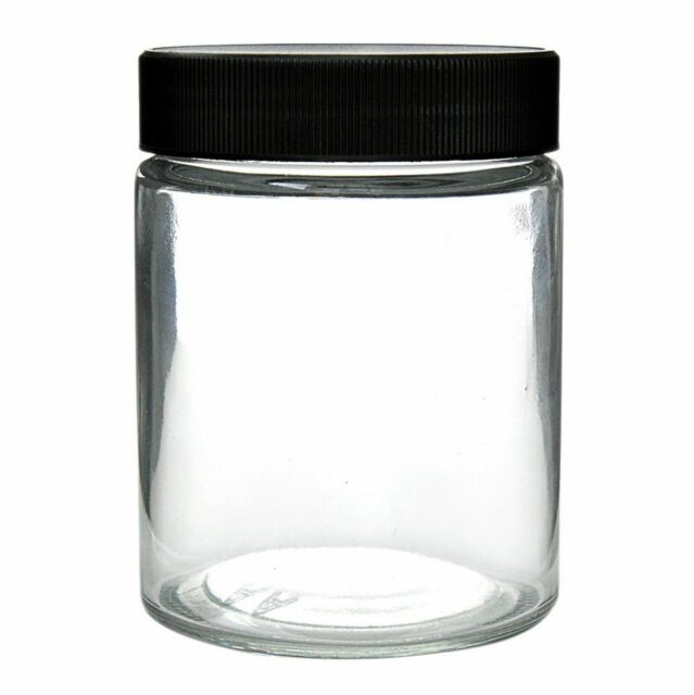 1 single 18 oz Thick Glass Screw Cap Jars Airtight plastic Lids Containers flat
