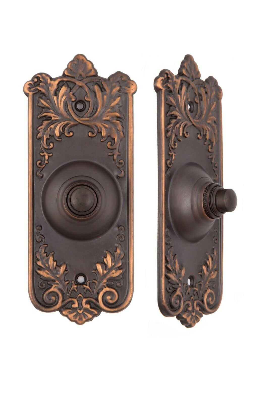 French Lorraine pattern bronze doorbell button