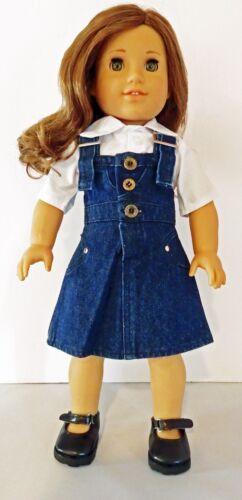 Denim Jumper 2pc Set Fits 18 inch American Girl Dolls