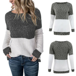 Womens-Crew-Neck-Patchwork-Jumper-Ladies-Winter-Pullover-Sweater-Tops-Oversi-U