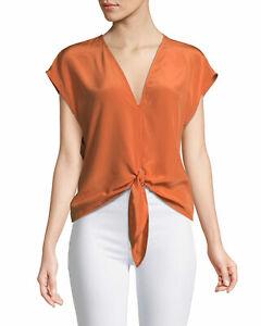 Bailey-44-Silk-Blouse-Top-Size-M-Tie-Front-V-Neck-Sleeveless-Orange-EUC-A3