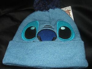 Cute-NWT-Blue-Disney-Lilo-And-Stitch-Face-Space-Alien-Pom-Winter-Beanie-Hat-Cap