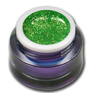 Farbgel-Chrome-Glitter-Green-Flash-Grun-LED-UV-Gel-French-Nail-Art-Design