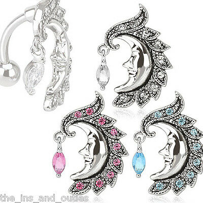Reverse Crescent Moon Face Belly Ring Marquise CZ Gem Pierced Navel Topdown