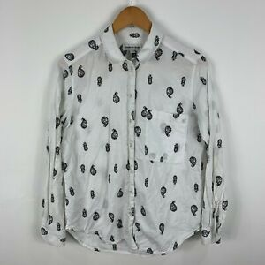 Country-Road-Blouse-Button-Shirt-Womens-Size-XS-White-Paisley-Long-Sleeve
