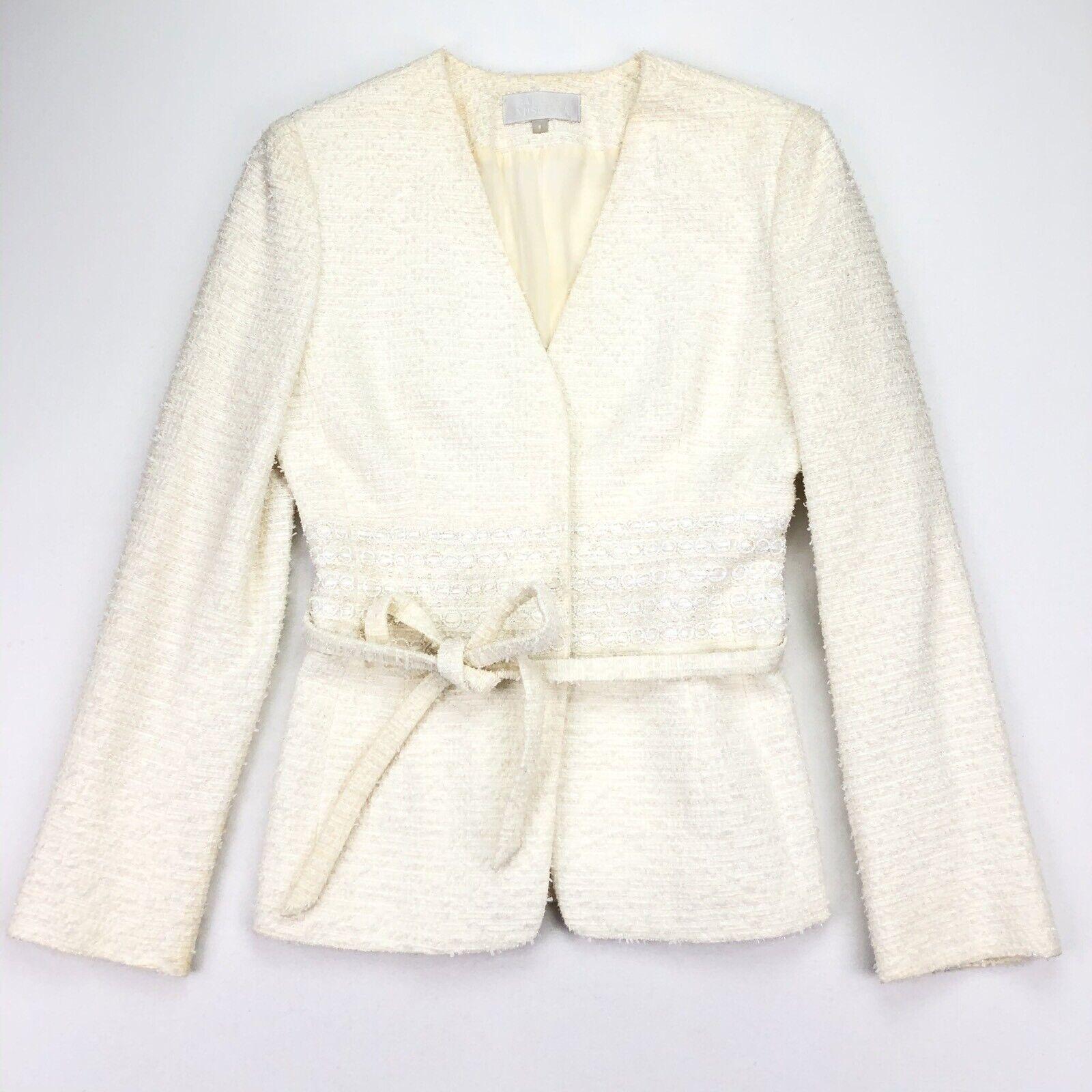 Badgley Mischka Women's Embroidered Beaded Boucle Jacket White • Size 8