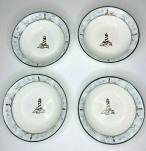 Totally-Today-Lighthouse-Soup-Cereal-Bowls-Nautical-White-w-black-rim-7-034-EUC