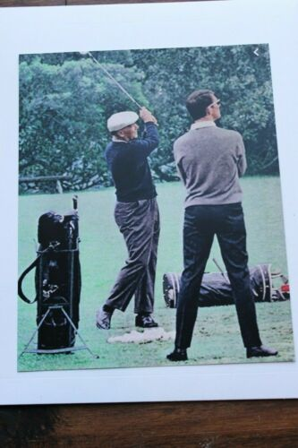"""BEN HOGAN WITH GEORGE KNUDSON MASTERS DRIVING RANGE PHOTOGRAPHIC IMAGE 8/"""" X 10/"""""""