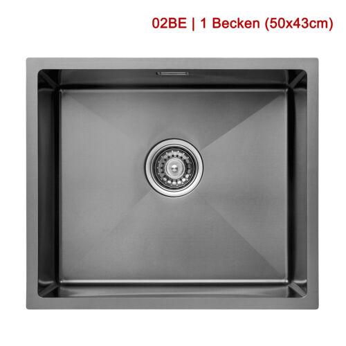 Edelstahlspüle Einbauspüle Küchenspüle Spülbecken Schwarz mit Ablaufzubehör-Set