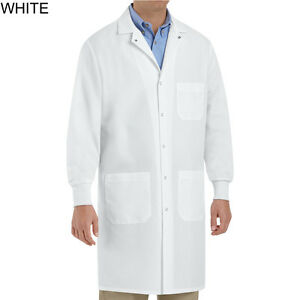 Brand New Unisex White Lab Coat with Cuffs size XS-3XL Red Kap KP72