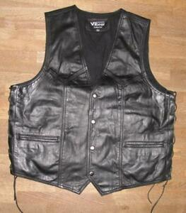 034-Vibrer-034-Men-039-s-Lace-Up-Leather-Vest-Biker-Vest-Vest-Black-XL-Approx-52