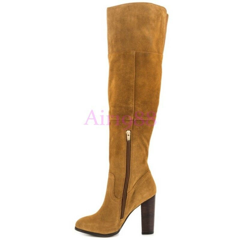 Womens Retro Pointed Toes Block Block Block Heel Suede Leather Knee High Boots Slim  shoes f68326