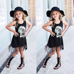 Summer-Girls-Dress-Fringe-Tassels-Princess-Party-Shirt-Dresses-Skirts