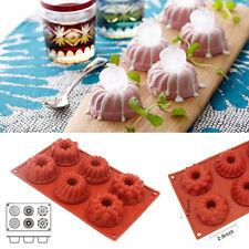 6 Cavity Bundt Savarin Mini Cake Muffin Silicone Mold Chocolate Baking Pan Mould