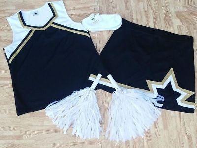 "Sporting Goods Nice Adult L Black White Cheerleader Uniform Top Skirt Socks Poms 38-40/30-31"" New Cheerleading"