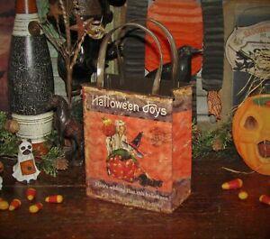 Primitive-Antique-Vtg-Style-Retro-Halloween-Witch-Jack-o-Lantern-Bag-Tin-Bucket