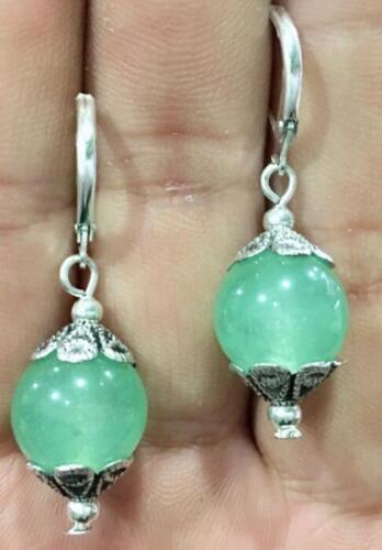 Handmade Belle Tibet 2 mm vert jade Gemme Boucles d/'oreilles AAA