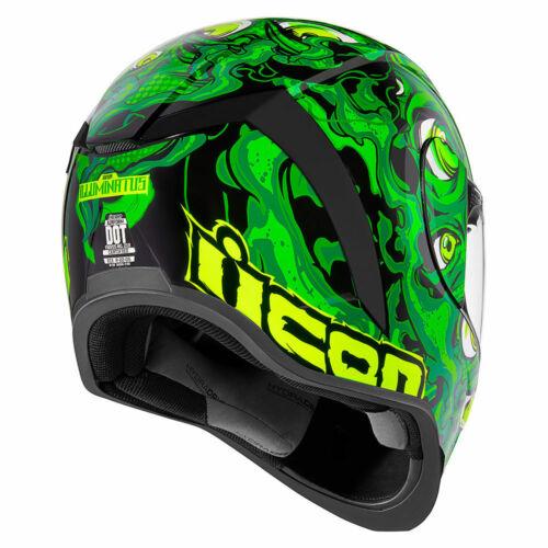 "ICON AIRFORM /""ILLUMINATUS/"" HELMET MOTORCYCLE *GLOW-IN-THE-DARK* GREEN PICK SIZE"