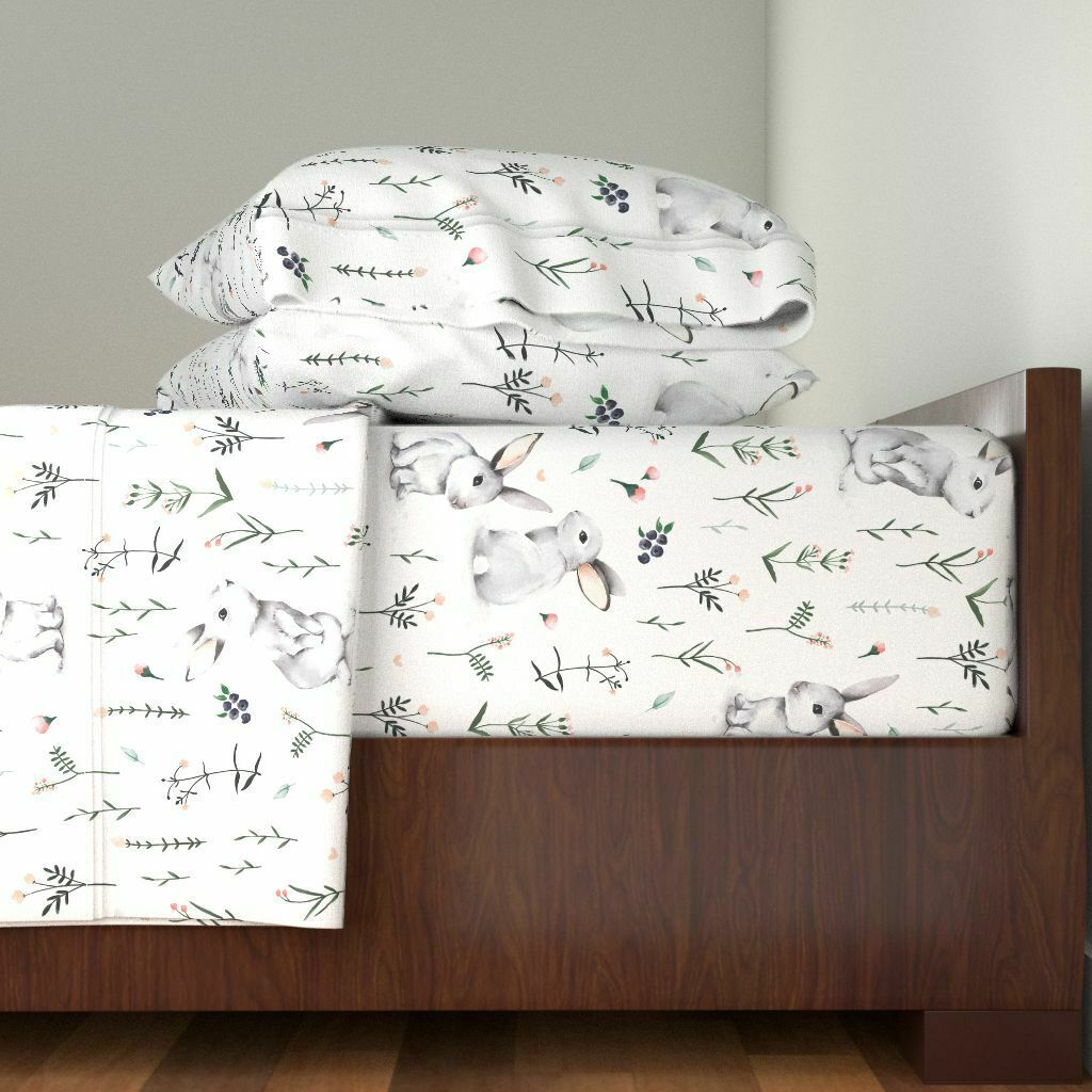 WaterColoreee Rabbits Easter Bunnies 100% Cotton Sateen Sheet Set by Roostery