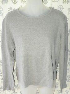 THE LIMITED Women's Large Gray Rib Knit Stretch Cotton LS Top Tee Shirt USA EUC