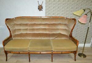 ausgefallenes-Chippendale-Stil-70er-3Sitzer-Sofa-Couch-Wiener-Geflecht-beige