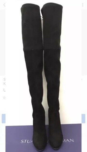 Stuart Weitzman Highland Over Over Over the Knee Stretch Suede Black black Thigh Sz 8.5 New 9a3318