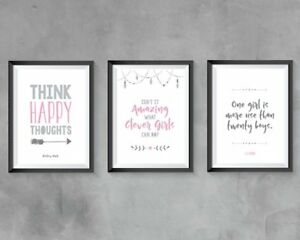 Peter Pan Prints Set Of 3 Home Decor Little Girls Bedroom Nursery Pink Grey Ebay