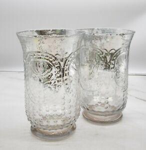 Vintage Distressed Silver Fade Hobnail Glass Vases- set