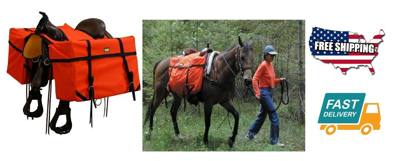Outdoor Equestrian Sport Saddle Panniers Horse Tool Part Hunting Fit Size orange