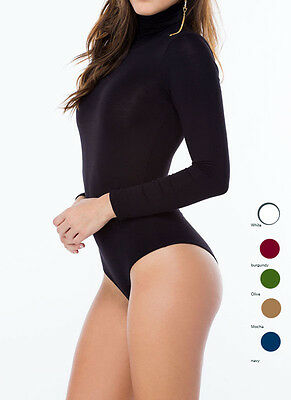 New Women's Turtle Neck Long Sleeve Sexy Casual Bodysuit Top S M L