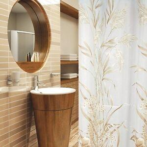 Rideau de douche en tissu 180x200 cm Or Marron Clair Blanc incl ...
