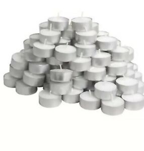 50 X QUALITY WHITE UNSCENTED TEALIGHT CANDLE LONG LASTING BURN TIME 4HOURS NEW!!