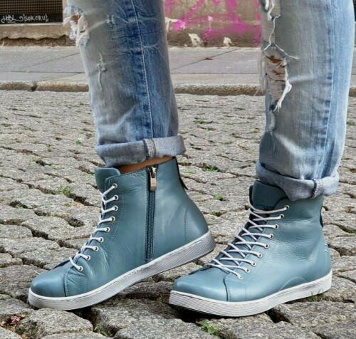 ANDREA CONTI Schuh 0341500 016 Petrol Damen HighTop Leder Sneaker Wechselfußbett