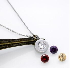 Silver stainless steel round interchangeable zirconia pendant image is loading silver stainless steel round interchangeable zirconia pendant necklace aloadofball Choice Image