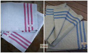 a7becd08d1 Set of 2 Linen Cotton Red Blue Striped Kitchen Tea Towels