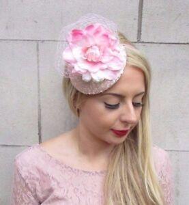 Navy Blue Light Blush Pink Flower Fascinator Hat Races Wedding Hair Rose 3984