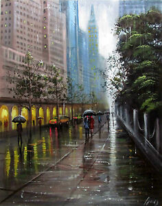 100-Hand-painted-Art-Oil-Painting-Landscape-RAIN-City-16-20inch-Signed