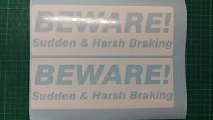 SUDDEN & HARSH BRAKING Stickers BEWARE Learner ADI Driving DVSA Instructor