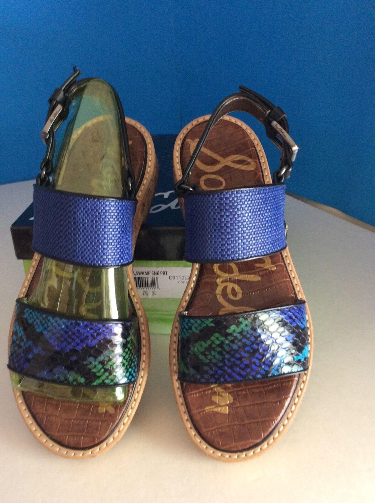 Sam Edelman Nia bluee Leather Snakeskin Cork Heel Sandals Size 7M NEW