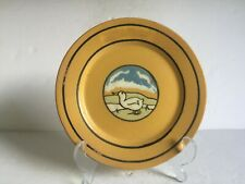 """Antique Paul Revere Pottery DUCK IN LANDSCAPE Plate Saturday Evening Girls 7.5"""""""