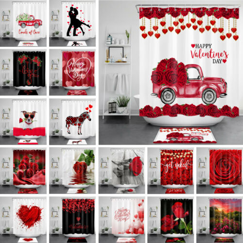 Valentine/'s Day Shower Curtain Sets Romantic Rose Truck For Bathroom Decor