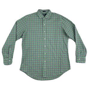 Polo-Ralph-Lauren-Green-Plaid-Dress-Shirt-Large-Custom-Fit-Long-Sleeve-Button-Up
