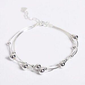 Triple-Armband-Kugeln-Schlangenkette-echt-Sterling-Silber-925-Damen-Armkette