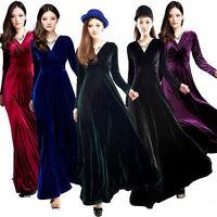 Fashion Winter Autumn Dress Women's Velvet Long-sleeve V-neck Long Maxi Dress
